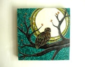 RESERVED for Mel, Watchful, Owl Fall Halloween Autumn Leaves Night, Original Fabric on Wood art block