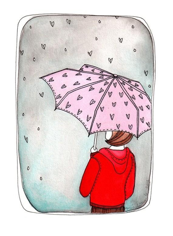 SALE - Rain Umbrella Art Print, Rainy day Print, Art Print, Art Illustration, April showers Bring May Flowers