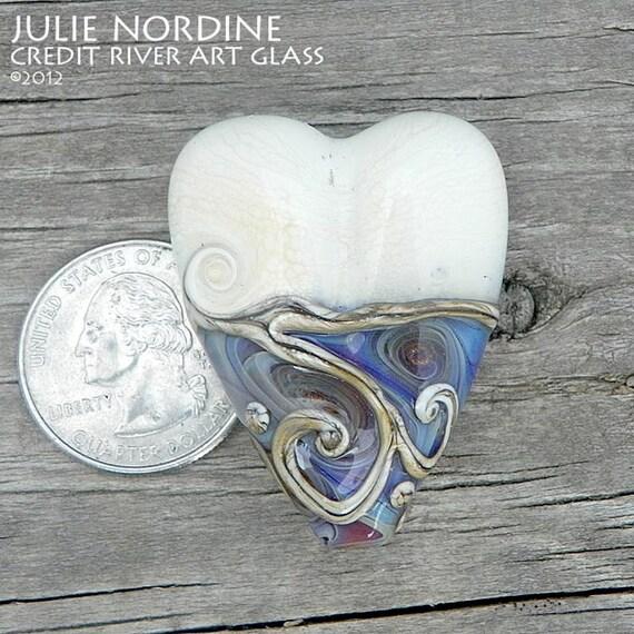 Julie Nordine . CRAG . Lunar Pools Art Glass Heart Bead . Handmade Lampwork Glass .  SRA
