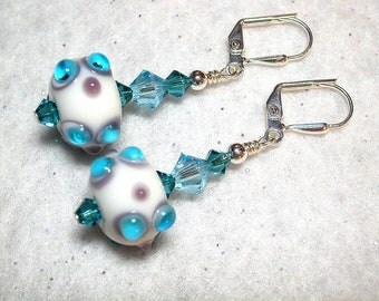 Aqua Lampwork Blue Earrings Swarovski Crystal Wire Wrapped Leverback Hooks Crystal Dangle Earrings Gifts under 5