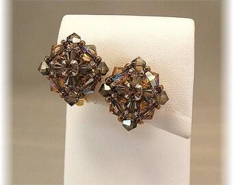 Brown Crystal Clip On Earrings, Vintage-Styled Crystal Clip On Earrings, Brown Bridesmaid Earrings, Bronze Crystal Non-Pierced Earrings