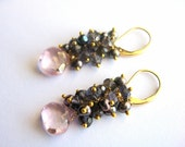 Iolite Cluster Drop Earrings, Pink Quartz Teardrops, Indigo Pearls, Gold Leverbacks, Gemstone Jewelry