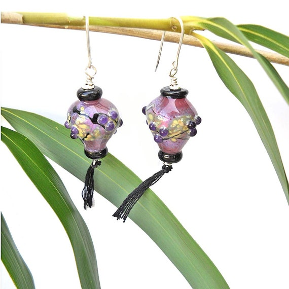 Handmade Lampwork Glass beads earrings, Japanese lanterns jewelry, pink and purple dangles, Asian inspired cherry blossoms SRA cgge, leteam