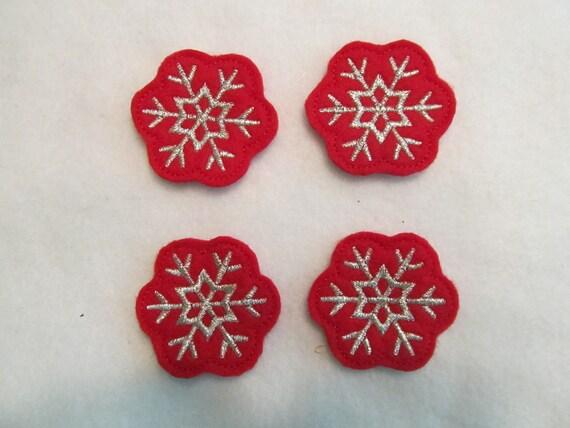 4 Felt SNOWFLAKE Applique Embellishments style G Red Felt Silver Stitching