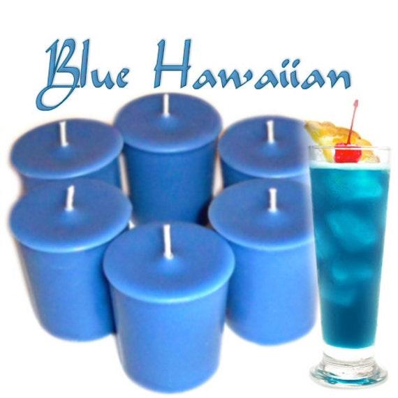 6 Blue Hawaiian Votive Candles Pineapple Coconut Rum Sea Scent