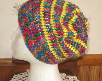 Crochet Slouchy Hat Adult Multicolored