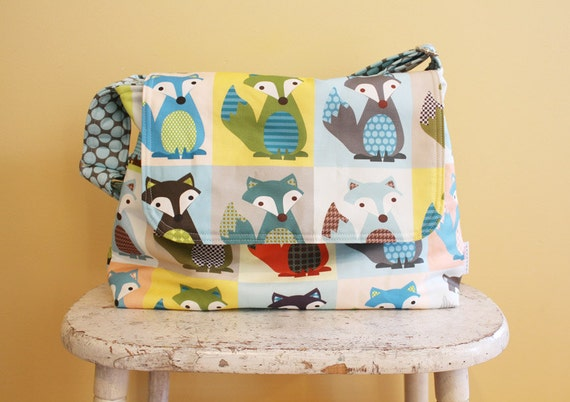 FOX Messenger Diaper Bag by PETUNIAS - hobo bag purse tote laptop carry all gym sack gift baby shower nappy everyday ready to ship modern