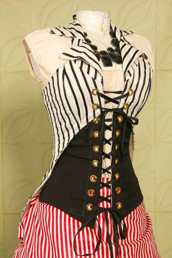 Bust 40 to 42 Black and White Stripe Empire Corsair (Top Only)
