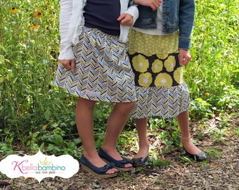 Toddler Girl Boutique Skirt Ready to ship  Blue Harringbone skirt 2 Toddler - 9 Youth By K Bella Bambino