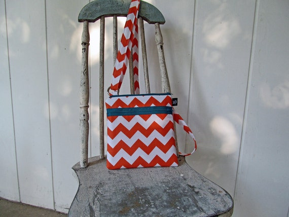 New Crossbody small travel bag purse in Orange Chevron with teal zipper accents