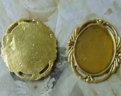 DESTASH 12 Antique Cameo Cabochon Settings Frames Mountings 30x22 Choice of Gold or Silver
