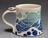 Favorite Mug with Blue and Aqua Fish... In Stock