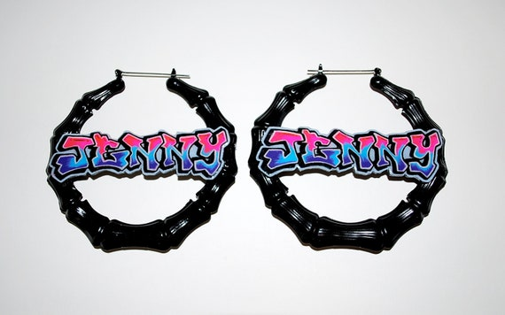 Graffiti Custom Personalized Nameplate Door Knocker Earrings Old School Hip Hop 80's Street Wear by beebles