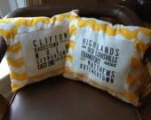 For Jill: Louisville bus scroll pillows