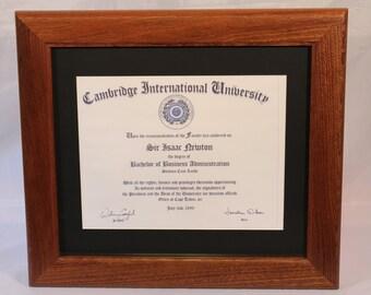 Mahogany Frame, Diploma Frame, Traditional