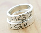 PERSONALIZED Less Than Three ( Heart ) Emoticon Ring, Custom Handmade Sterling Silver Unisex, Geek Chic Jewelry