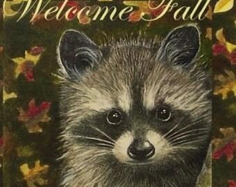Fall Raccoon Greeting Card, Art by Melody Lea Lamb