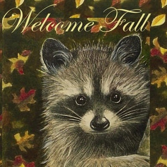 Fall Raccoon Greeting Cards, Art by Melody Lea Lamb, Set of Four