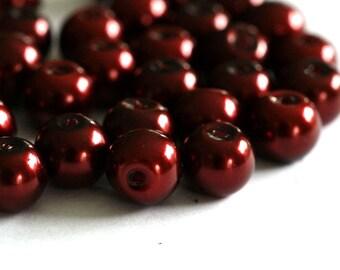 50pcs 8mm Lt. Plum Pearlized Glass Beads HY8mm96
