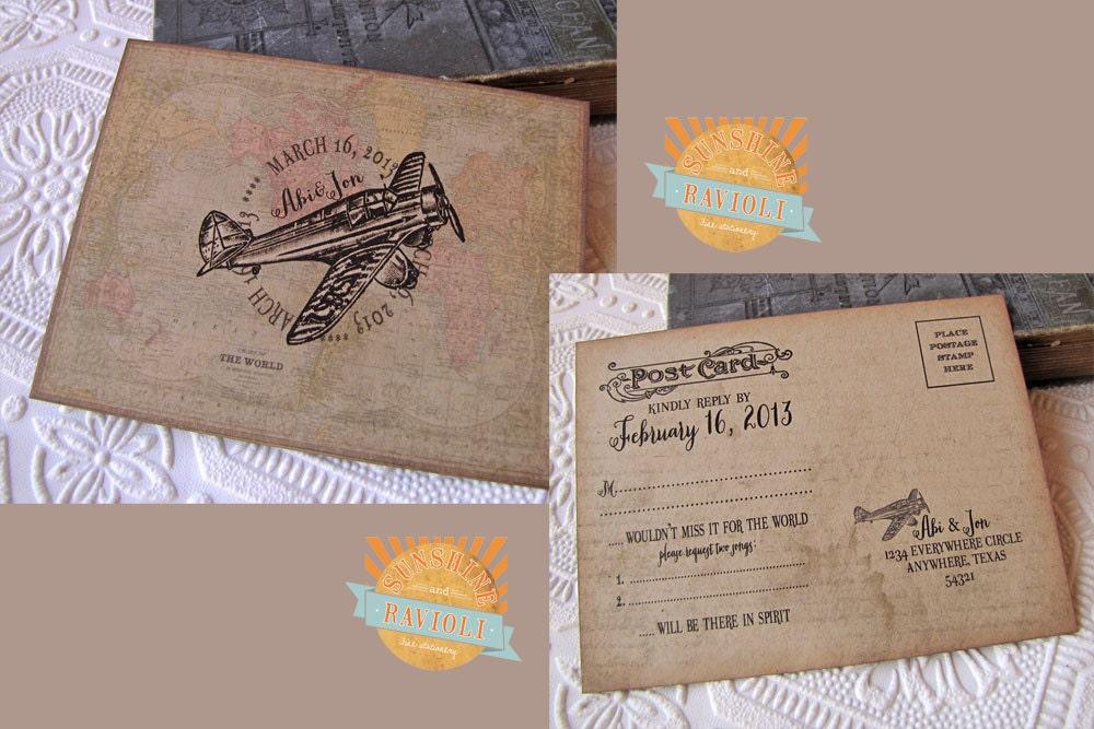 Destination Wedding Invitations Etsy: Destination Wedding Invitation Vintage Aviation Invitation