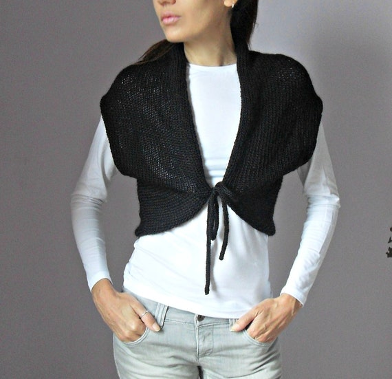HandKnitted Shrug with ribbons - Black - Medium Size - 100x100 Merino Wool