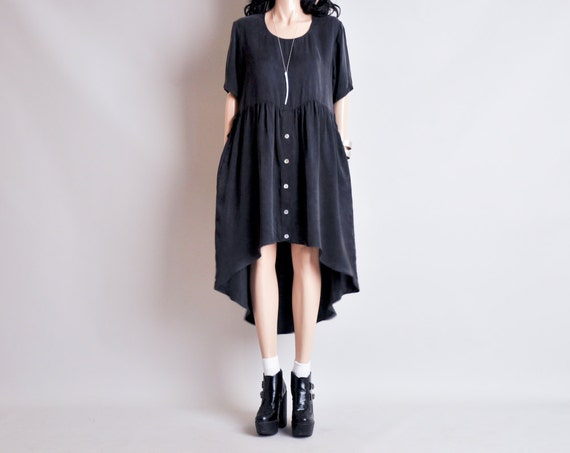 RESERVED. silky black oversized slouch babydoll hi low dress / s / m