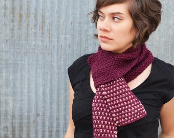 Fuschia Merino Wool Scarf with Dusted Pink Rose Dot Ends