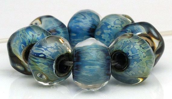 Handmade Lampwork Bead Set Blue Metallic Pebbles SRA