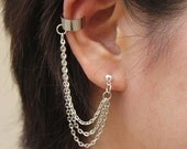 Triple Strands Chain with Double Piercing or Earring Cuff, SA448