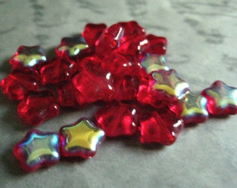 8mm Red AB Star Beads