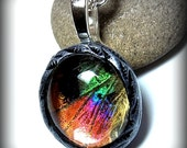 Real Butterfly Wing Necklace Sunset Moth Rainbow Butterfly Jewelry SMALL SIZE