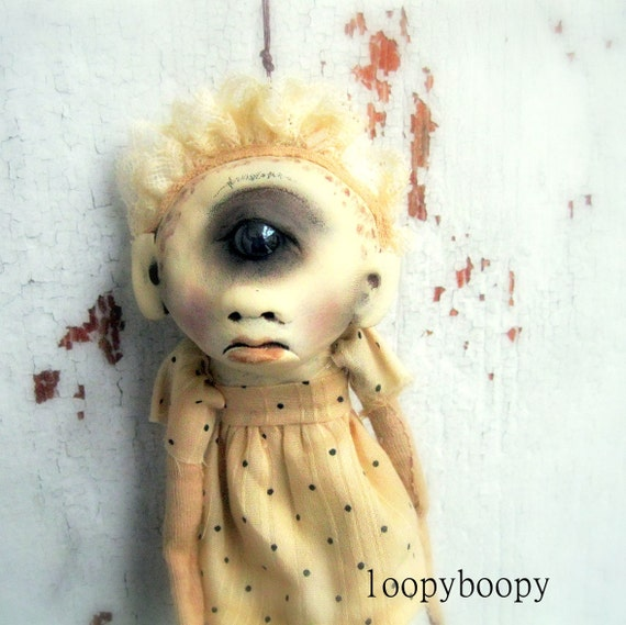 Creepy Baby OOAK Art Doll Halloween Ornament Cyclops Baby RESERVED for NC