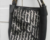 Foodie Gift Tote Purse Bag Handwriting Silver on Black
