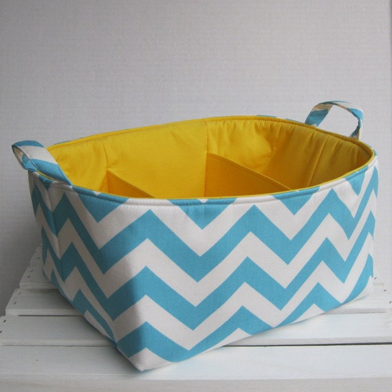 Aqua - Turquoise Blue/ White Chevron - Diaper Caddy - Storage Container Organizer Bin Basket  -  Separators - Dividers - 3 Compartments