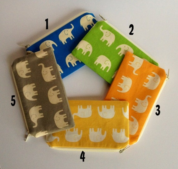 Zippered Coin Purse Wallet - Fabric Business Card Holder - Elephants - Choose the Color