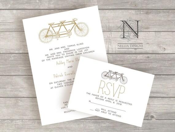Tandem Bike Wedding Invitations