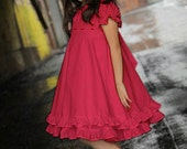 Girls Red Christmas Valentine Vintage Heirloom Twirl Dress Custom Size 12 mths to 12 yrs - Aude in Red