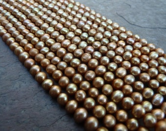 Gold Freshwater Pearls, 35% Off, Light Gold Potato Pearls, 4MM Gold Pearls, 4MM Potato Pearls, 1 Strand, PP101