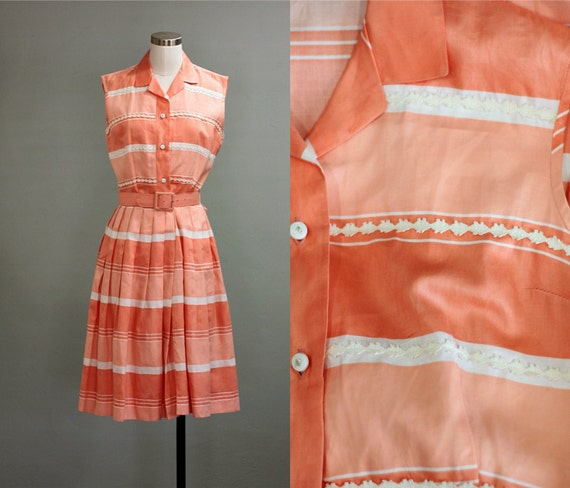 RESERVED - 50's M Peachy Striped Pleated Day DRESS