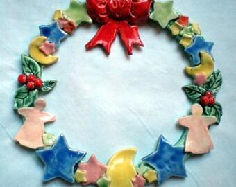 Ceramic Ribbon,Stars,Holly Christmas Wreath
