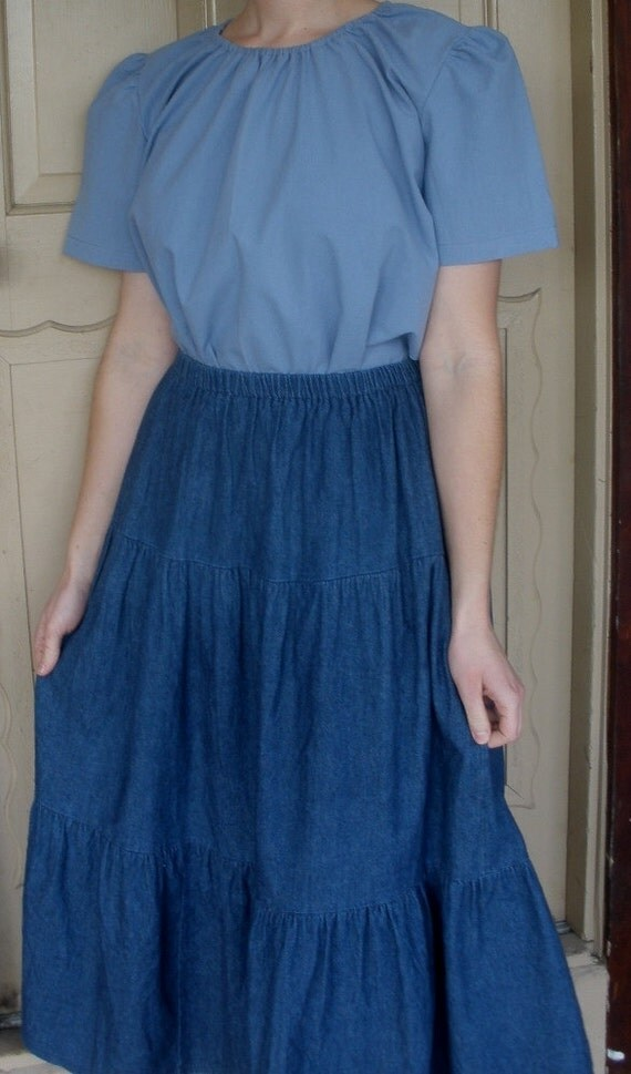 denim tiered skirt blue jean plus by