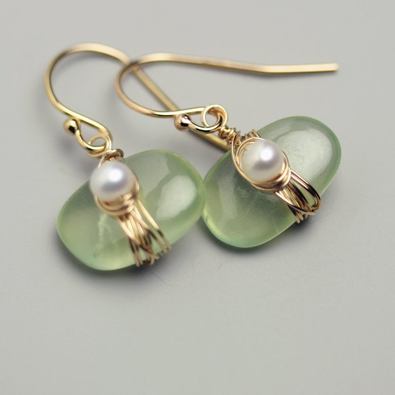 Prehnite Pebble Earrings with Wire Wrapped Freshwater Pearl