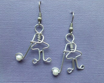 Golfing lady earrings wire wrapped