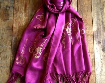 Silk Blend Antique Scissors Magenta and Gold