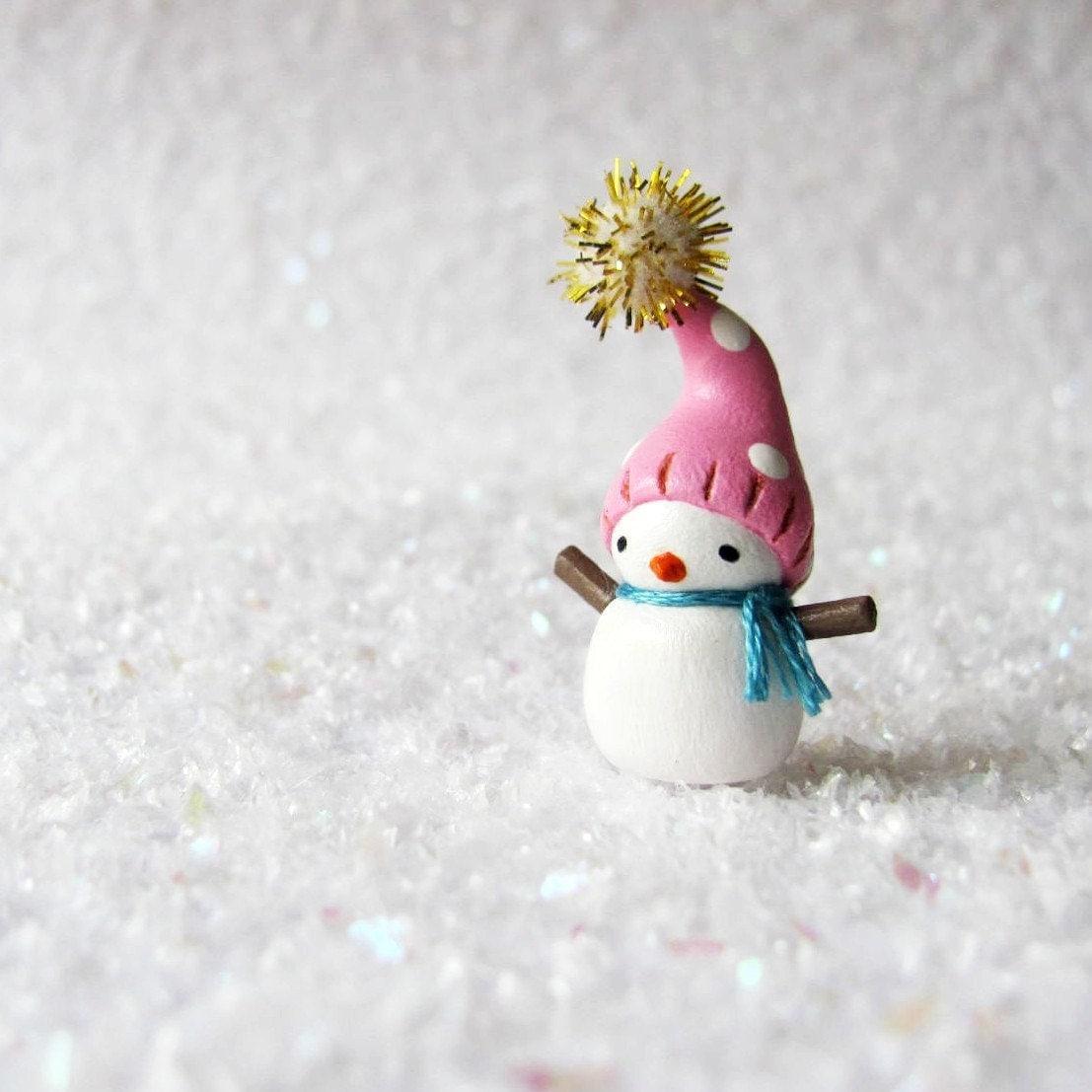 Miniature snowman polymer clay christmas figurine by