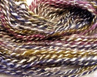 Y272  Hand Spun natural Mohair plied with Commercial Bright Colors Mohair