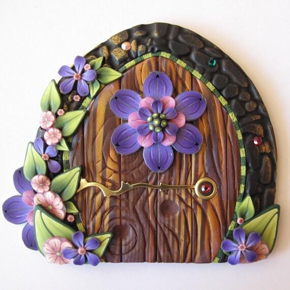 Purple flower fairy door pixie portal for Purple fairy door