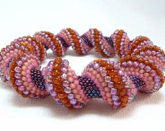 Summer Sunset Cellini Spiral Beadwoven Bangle Bracelet