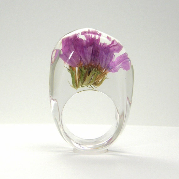 Pink Flowers Resin Ring, Floral Ring