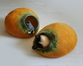 Cat Cave / Bed / House / Vessel - Hand Felted Wool - Yellow Pumpkin Bubble - Crisp Contemporary Design